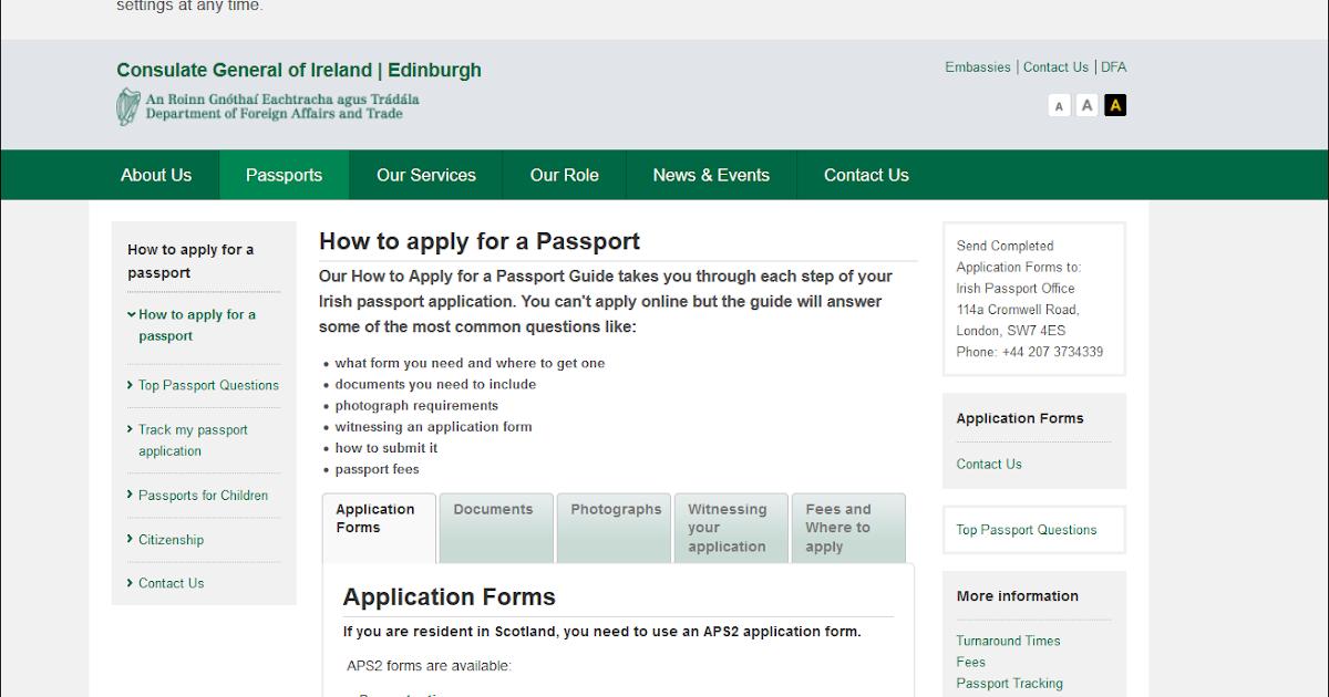 Form New Application Form For A Irish Passport
