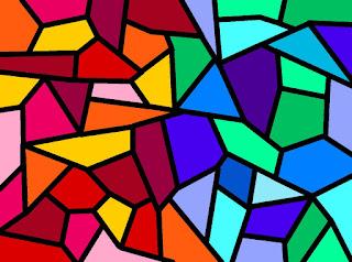 Mosaik mit kalten und warmen Farben