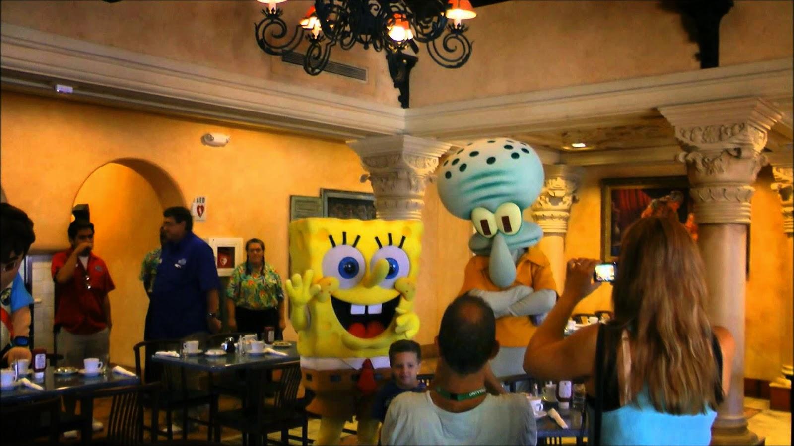 Cafe La Bamba com os personagens no Universal Studios em Orlando