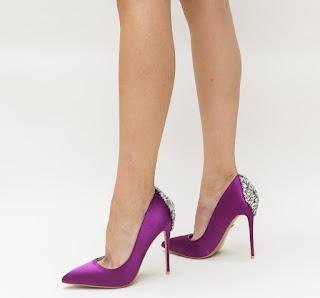 Pantofi Sabrin Mov cu toc inalt si accesoriu elegant