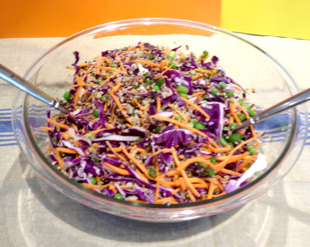 Red Cabbage and Carrot quinoa salad with asian dressing