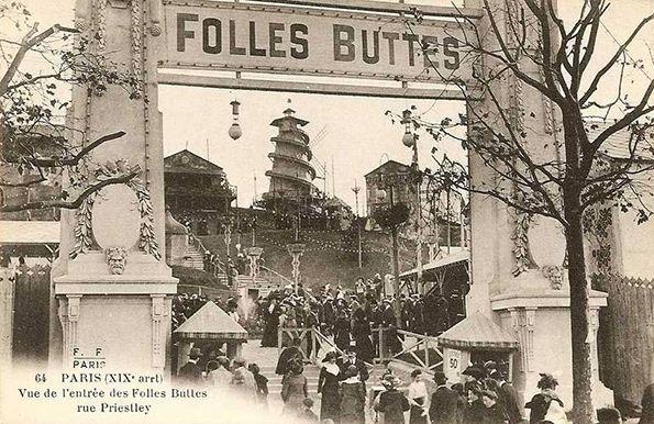 """Cartão Postal Antigo - Entrada do parque de atrações """"Folles Buttes"""""""