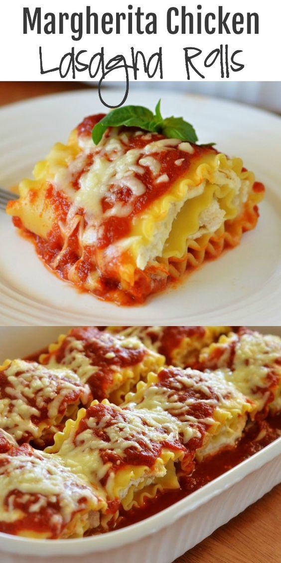 Margherita Chicken Lasagna Rolls