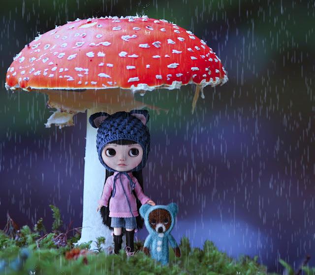 Blythe osito lluvia y seta