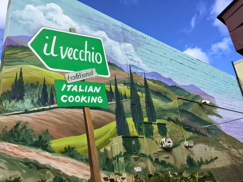 Mural outside of Il Vecchio in Pacific Grove