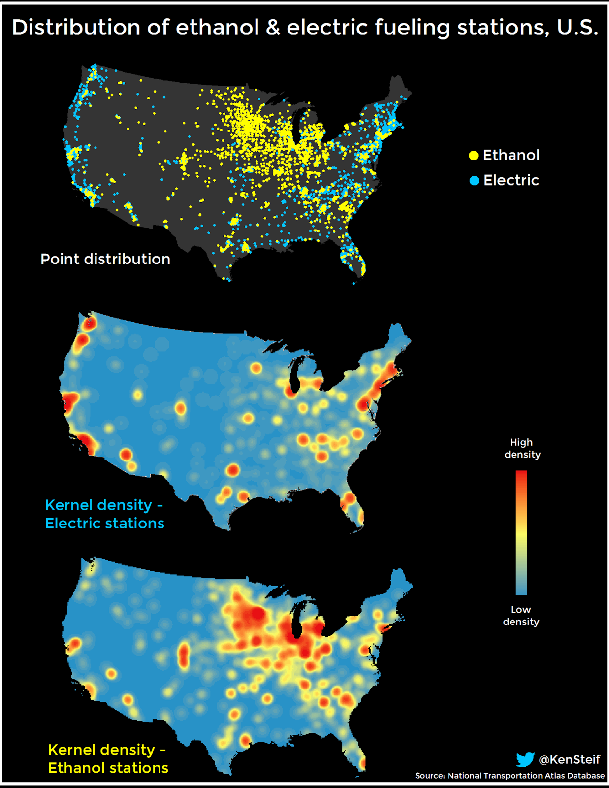 Distribution of electric and ethanol fuel stations in the US