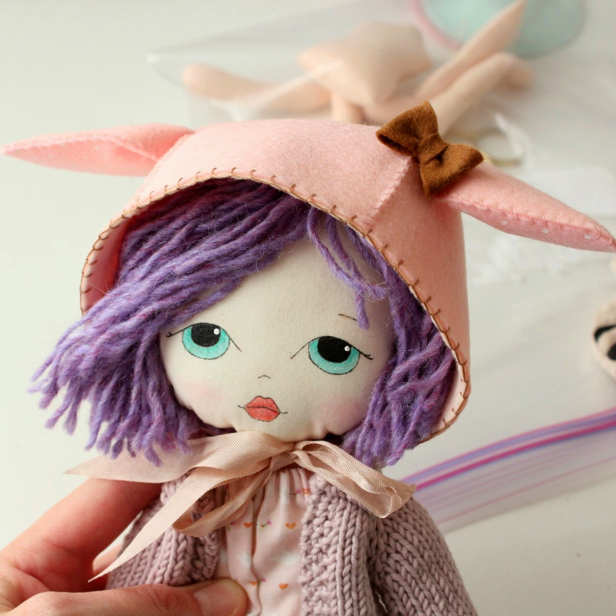 Little Lady wearing a Blythe Animal Bonnet