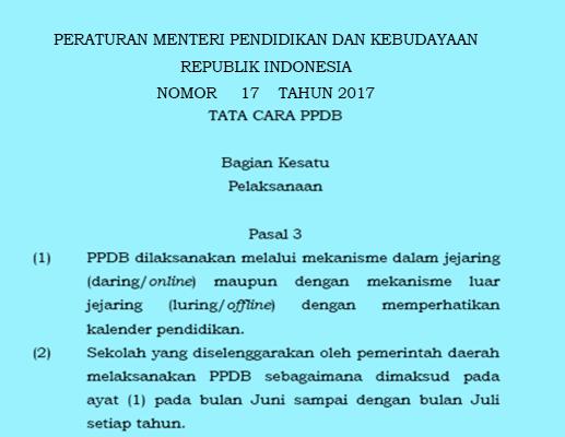 Tata Cara Penerimaan Peserta Didik Baru  2017-2018