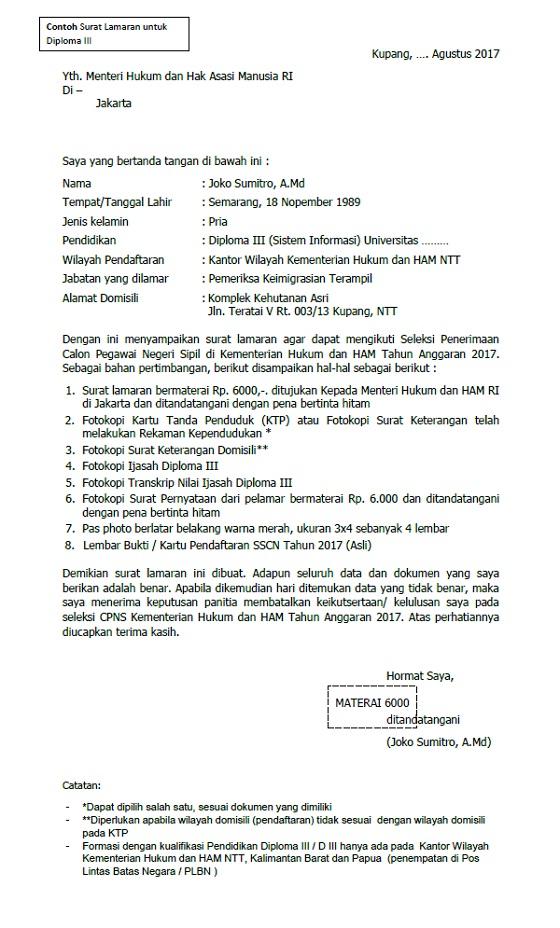 Contoh Format Surat Lamaran dan Surat Pernyataan S1 D3 SLTA CPNS Kemenkumham 2017