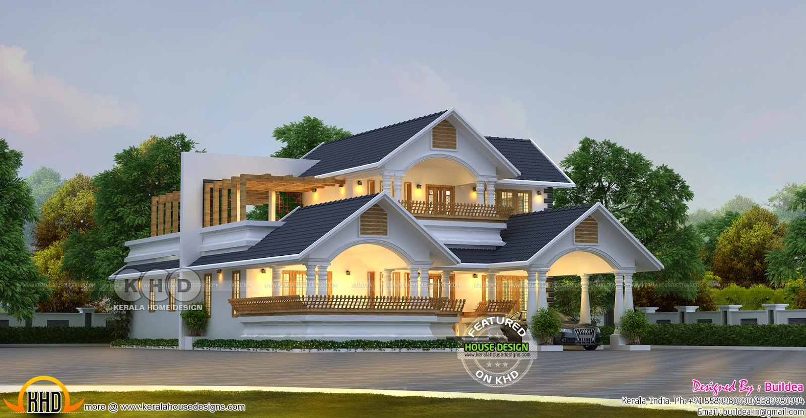Traditional contemporary house 2562 sq ft kerala home for Design traditions home plans