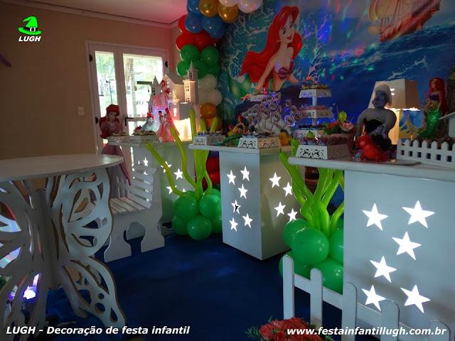 Decoração infantil festa A Pequena Sereia - Mesa temática decorada - Aniversário