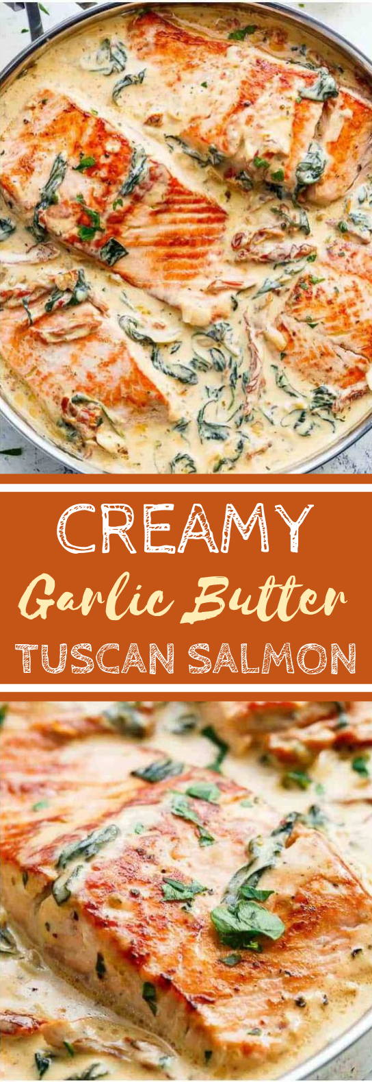Creamy Garlic Butter Tuscan Salmon #fidh #dinner