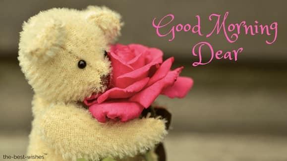 good morning dear with white teddy
