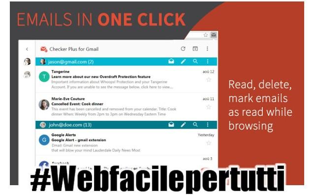 Checker Plus for Gmail | Estensione per chrome che permette di ricevere notifiche in tempo reale per le email ricevute su indirizzi @gmail