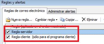 Exchange: Administrar reglas Outlook