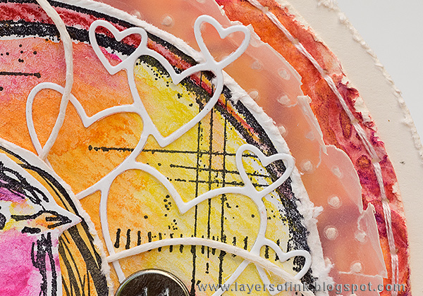 Layers of ink - Circle Scribbly Bird Card by Anna-Karin