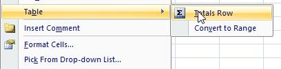 Memunculkan total row data list excel 2003