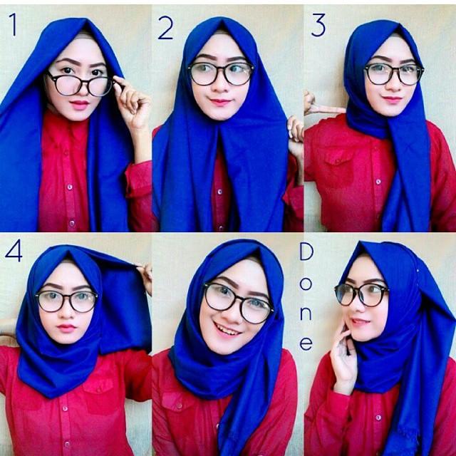 Cara memakai Jilbab segi empat untuk sehari hari