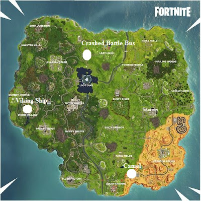 Fortnite, Viking Ship, Camel, Crashed Battle Bus, Locations Guide