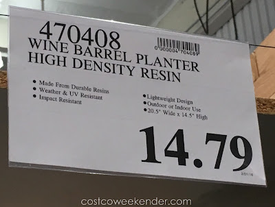 Deal for the Wine Barrel Planter High Density Resin at Costco