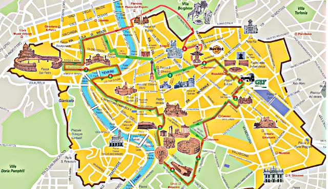 Mapa de um passeio de ônibus Hop on Hop off em Roma