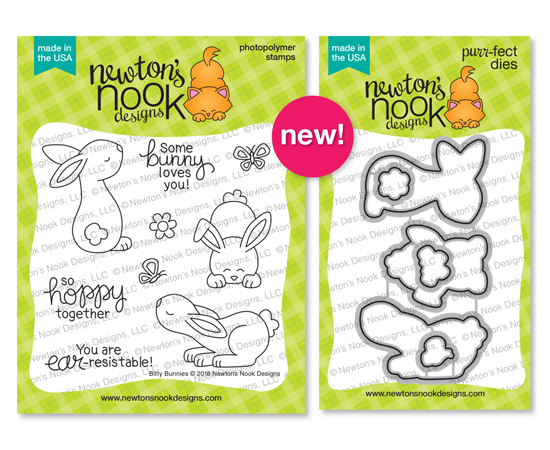 Bitty Bunnies | Spring Bunny Stamp Set and die set by Newton's Nook Designs #newtonsnook