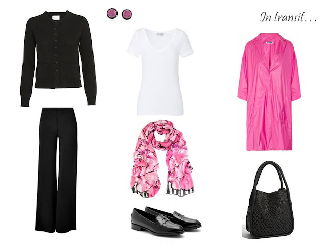 Travel outfit: a simple black cardigan and pants, with a white tee shirt, a PINK coat and wonderful scarf