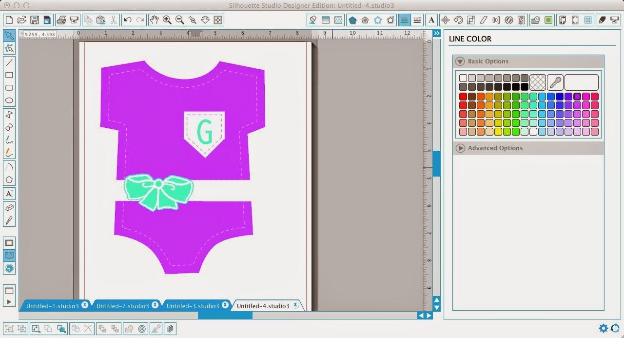 Faux stitching, Silhouette Studio, Silhouette tutorial, onesie