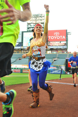 Running through Angel Stadium during the 2013 Disneyland Half Marathon