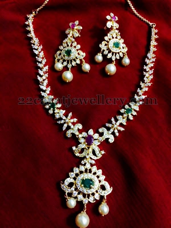 1 Gram Gold Cz Set Looks Genuine Jewellery Designs