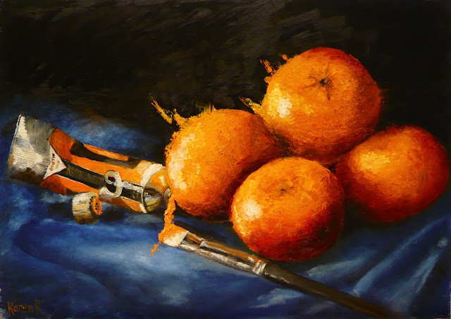 oil painting, still life with oranges and paint