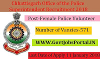 Chhattisgarh Office of the Police Superintendent Recruitment 2018 – 571 Female Police Volunteer