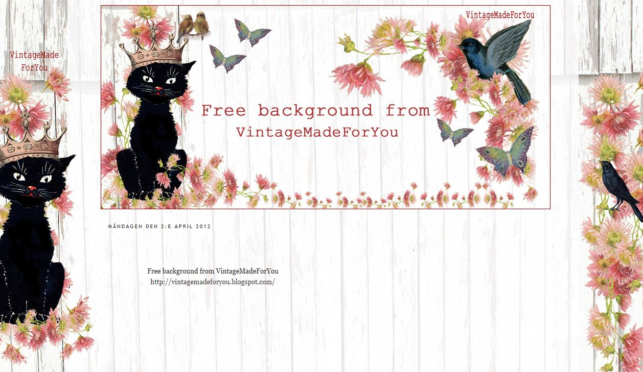 vintagemadeforyou free background to blogger 2 and 3 columns cat