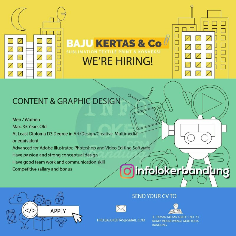 Lowongan Kerja Content & Graphic Design Baju Kertas & Co Bandung Maret 2018