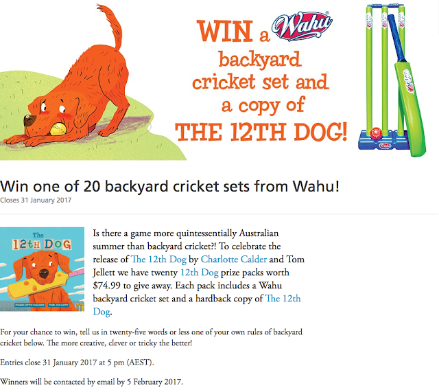 The 12th Dog by Charlotte Calder win a backyard cricket set competition