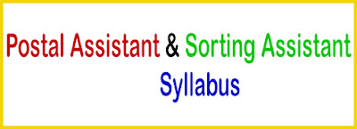Postal Assistant & Sorting Assistant Syllabus