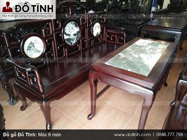 Sản phẩm bàn ghế móc gỗ gụ 6 món
