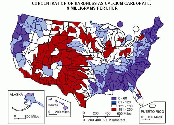 Hard & soft water in the U.S.