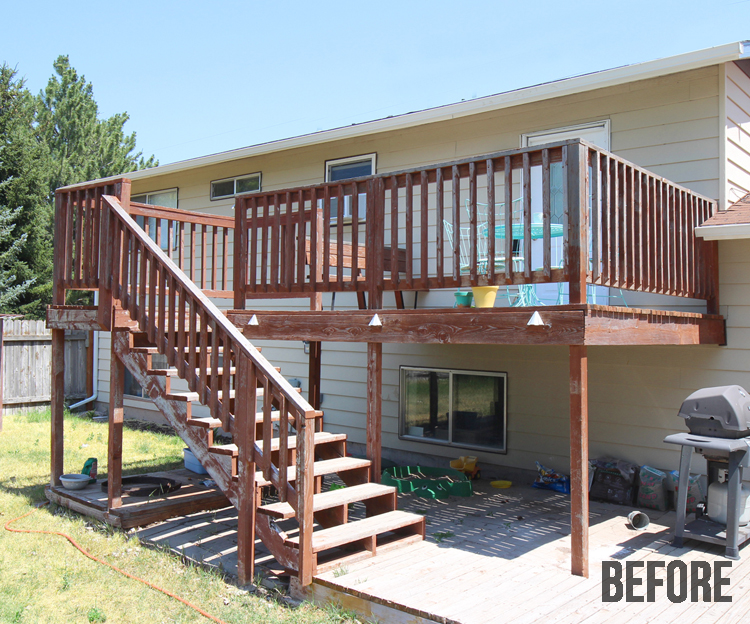 A two story wood deck gets a much needed update