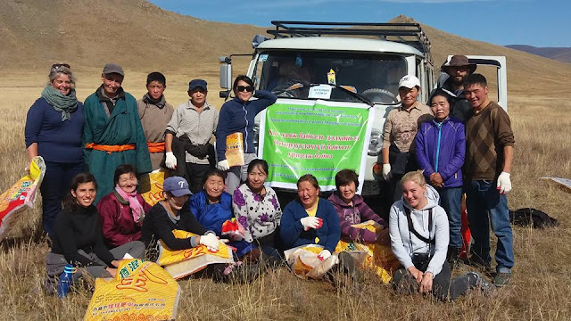 Our community clean up team at Terkhiin Tsagaan Nuur, Mongolia