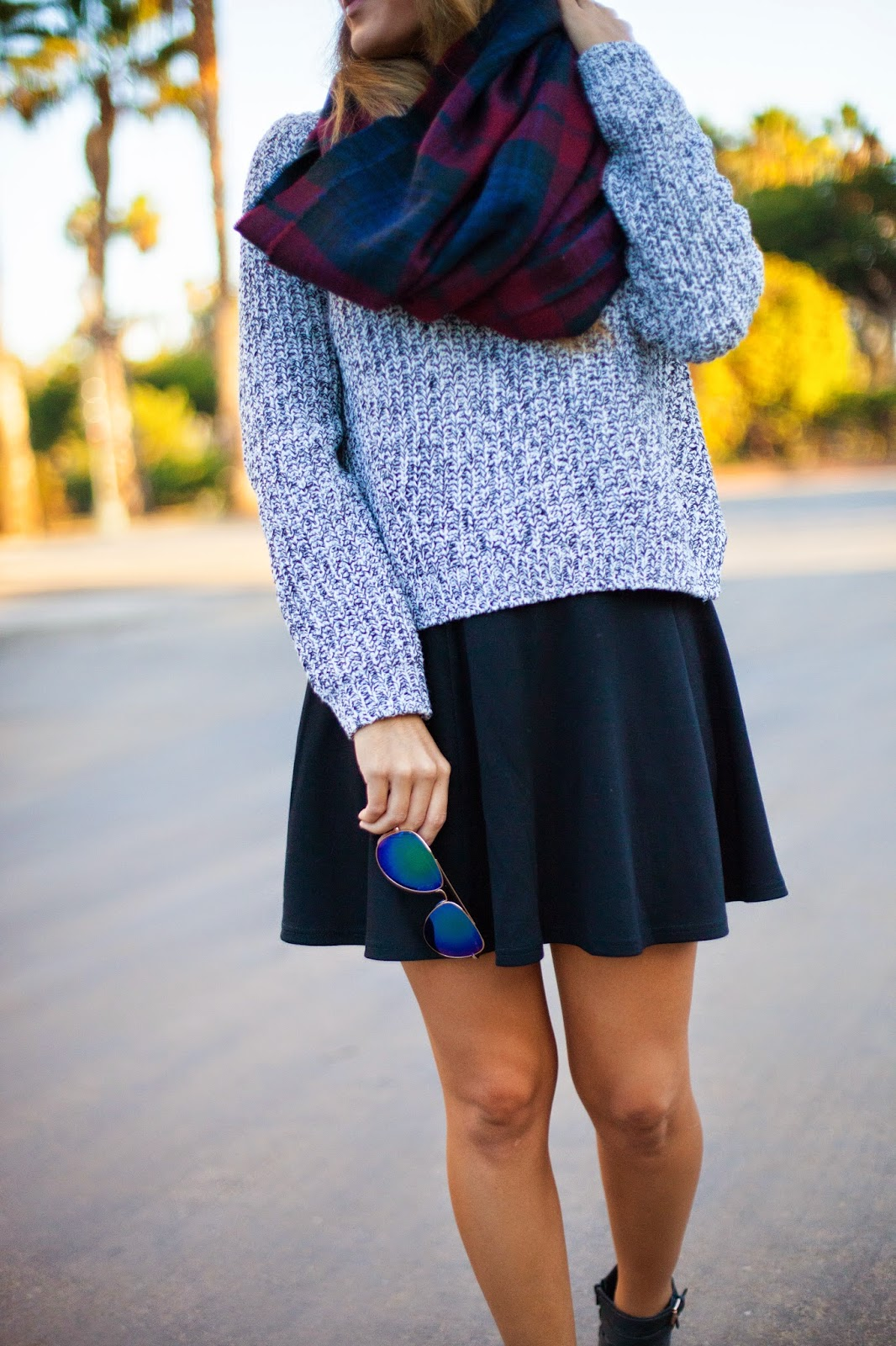 plaid and chunky knit style