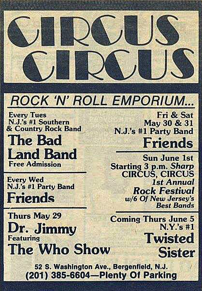 Circus Circus rock club band line up