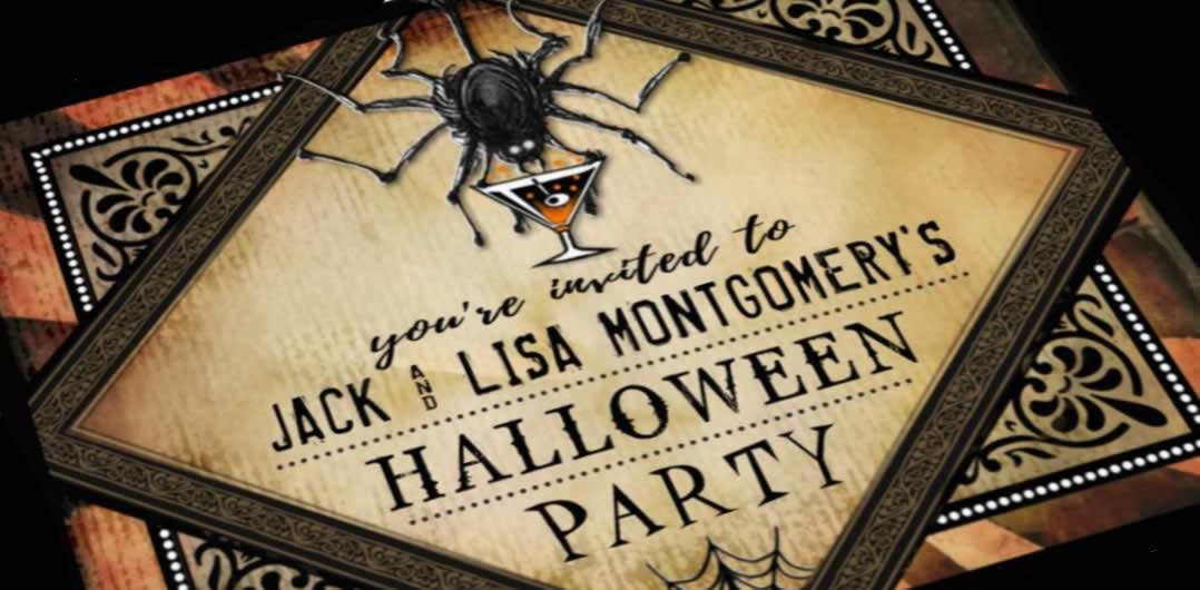 Gothic brown Halloween Cocktail Party Spider Invitation by Julie Alvarez Designs