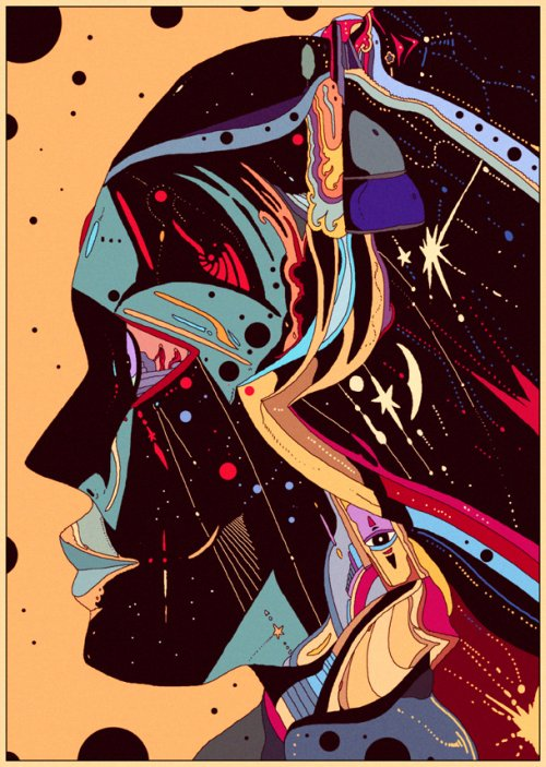 Killian Eng ilustrações ficção científica vintage surreal psicodélico sombrio