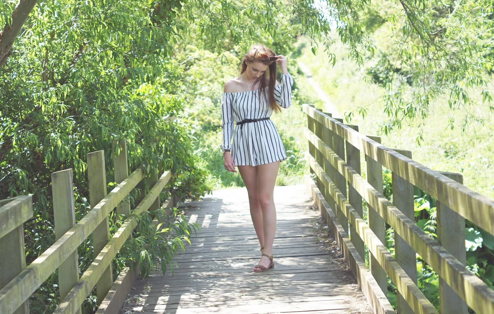 missguided stripey playsuit