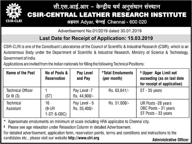 CLRI Technical Assistant and Technical Officer Posts Recruitment Notification 31.1.2019