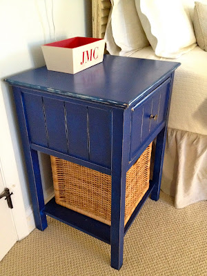 blue nightstand makeover