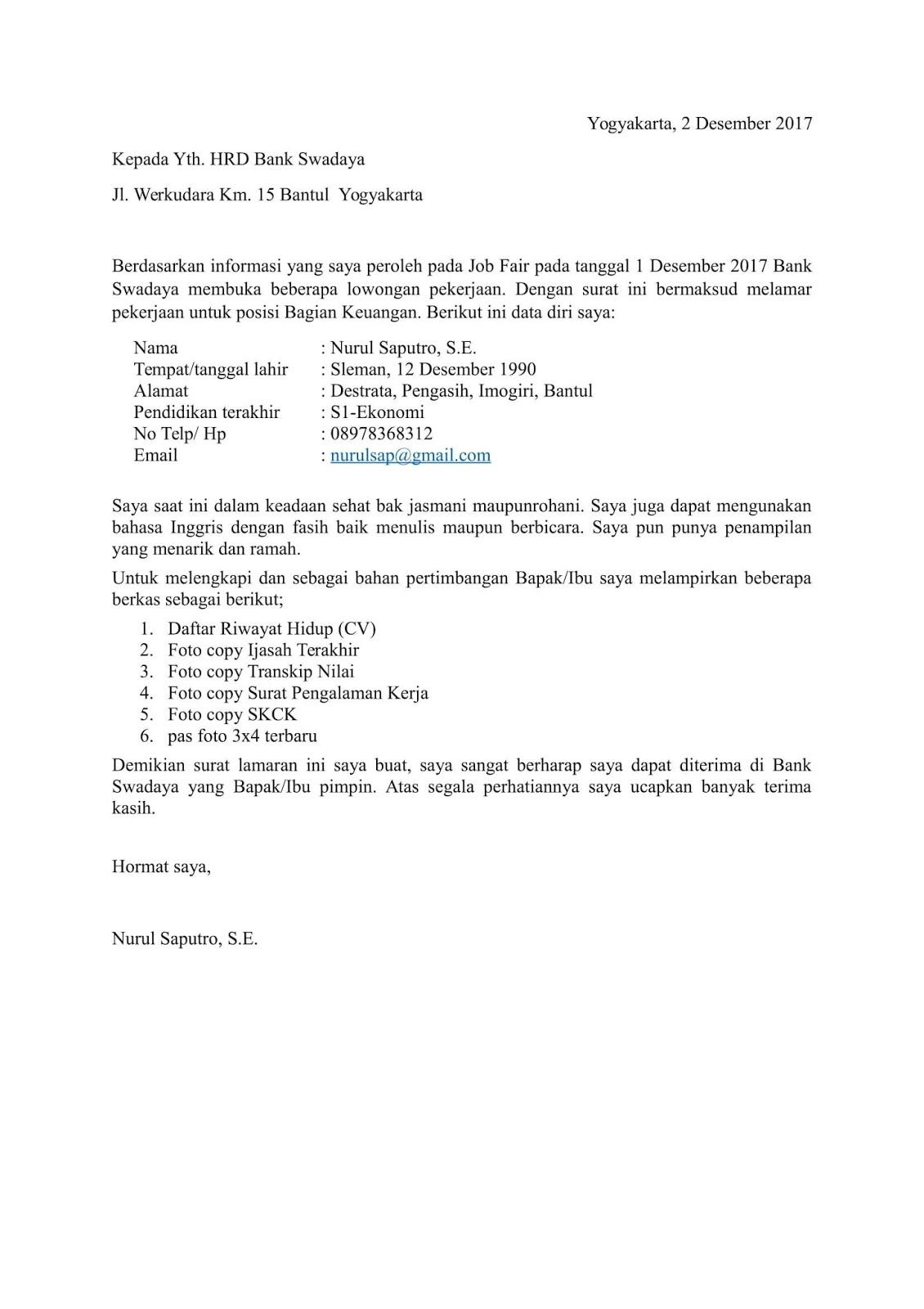 76 Contoh Surat Lamaran Kerja Yang Diketik