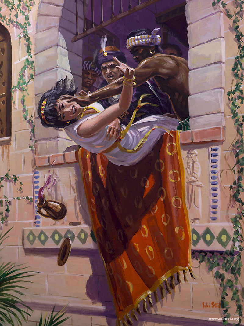 The infamous Jezebel, wicked and manipulating wife of Ahab, is forced out of a window by her servants.
