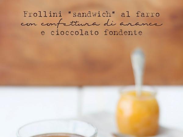 """Frollini """"sandwich"""" al farro con confettura di arance e cioccolato fondente"""
